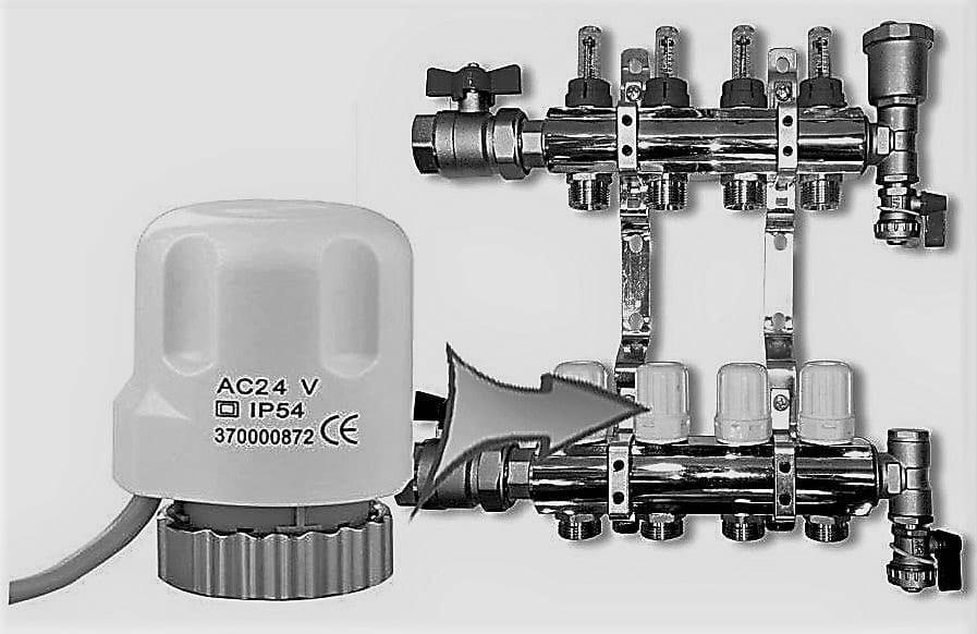 Automatizare pardoseală -- distribuitor cu robineți termostatați, capace închidere-deschidere