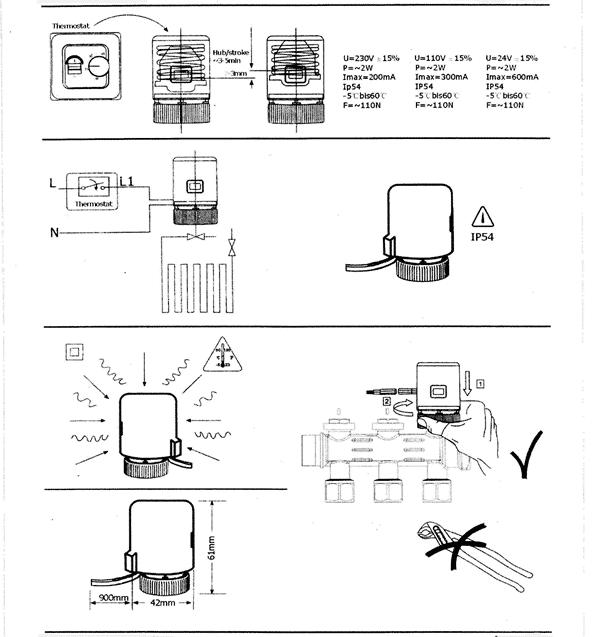 Incalzire in pardoseala - termostat legat direct cu actuatoare