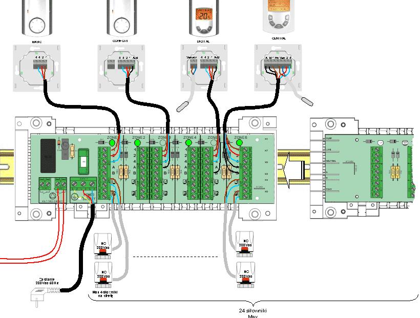 Incalzire in pardoseala - termostate legate prin regleta cu actoatoare